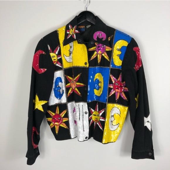 Modi Denim Retro VTG Celestial Sequin Jacket Med